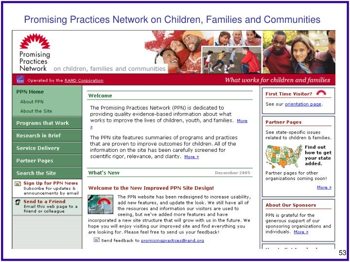 Promising Practices Network on Children, Families and Communities
