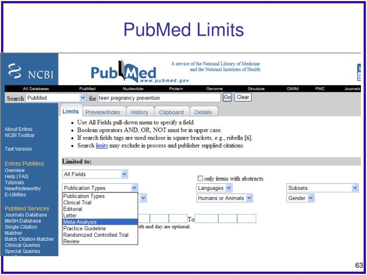 PubMed Limits