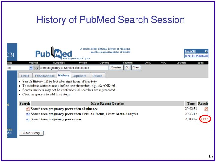 History of PubMed Search Session