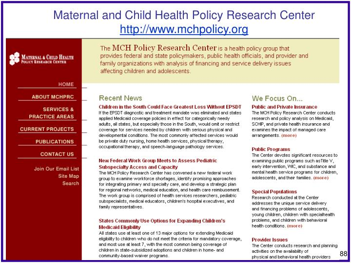 Maternal and Child Health Policy Research Center