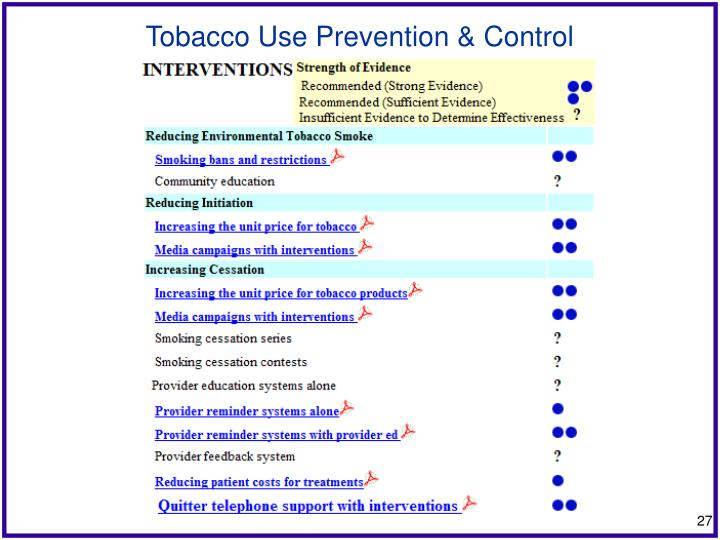 Tobacco Use Prevention & Control