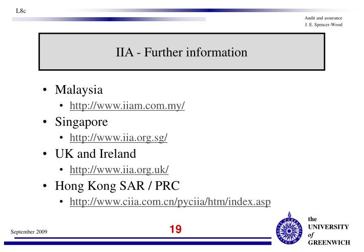 IIA - Further information