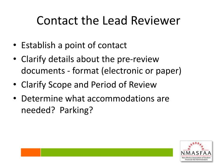 Contact the Lead Reviewer