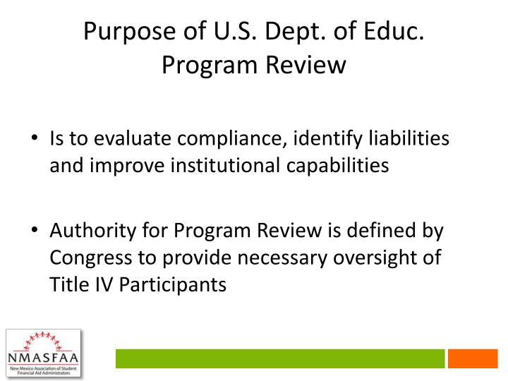 Purpose of U.S. Dept. of Educ.