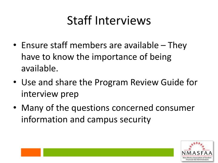 Staff Interviews