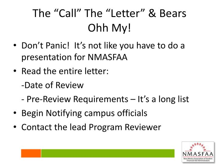 "The ""Call"" The ""Letter"" & Bears"