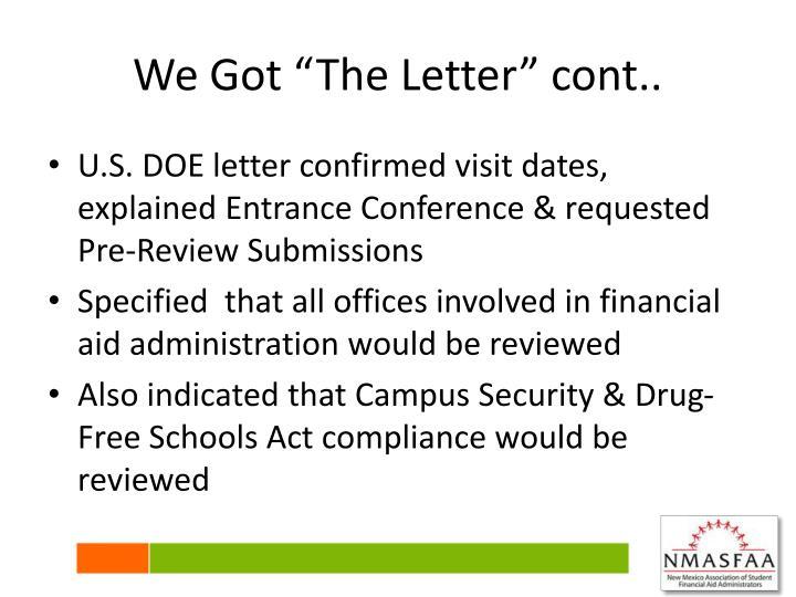"We Got ""The Letter"" cont.."