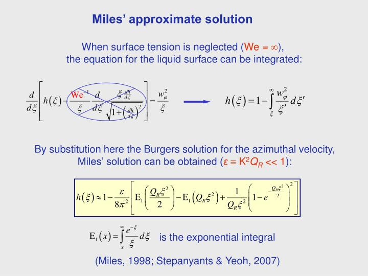 Miles' approximate solution