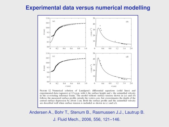 Experimental data versus numerical modelling