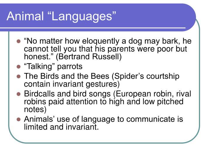 """Animal """"Languages"""""""