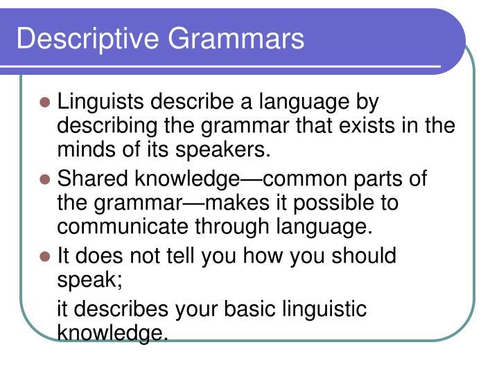 Descriptive Grammars