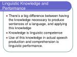 linguistic knowledge and performance