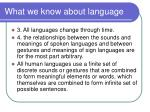 what we know about language1
