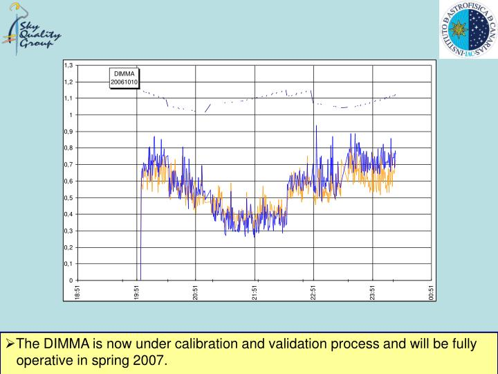 The DIMMA is now under calibration and validation process and will be fully