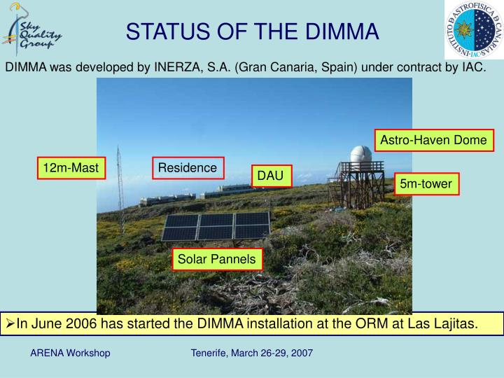 DIMMA was developed by INERZA, S.A. (Gran Canaria, Spain) under contract by IAC.