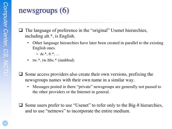newsgroups (6)