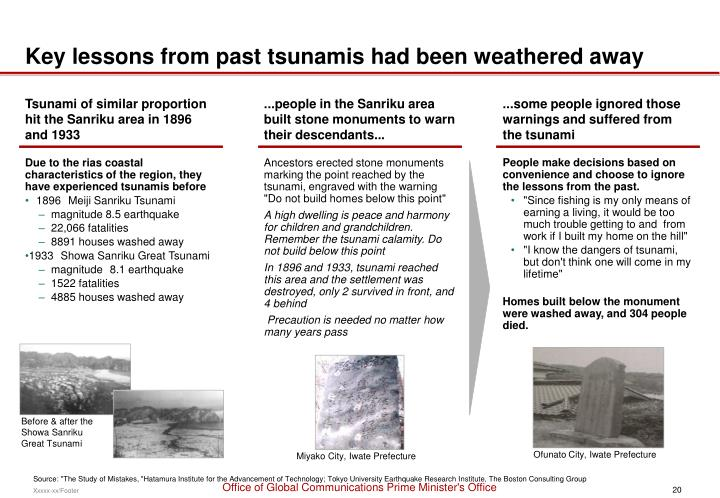 Key lessons from past tsunamis had been weathered away