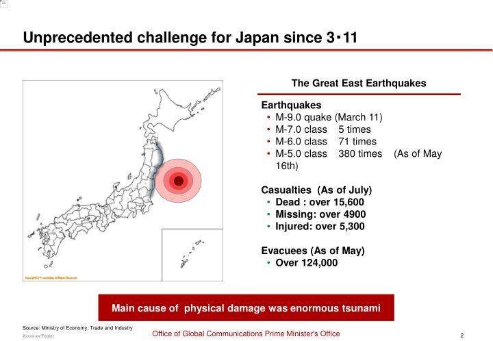 Unprecedented challenge for Japan since 3