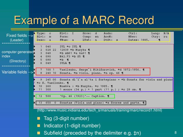 Example of a MARC Record