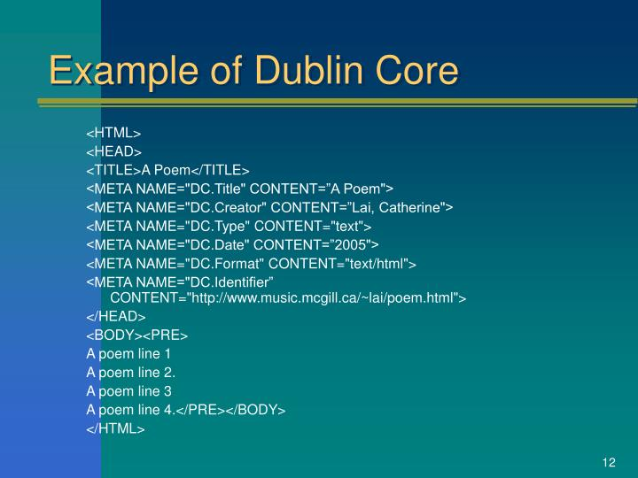 Example of Dublin Core