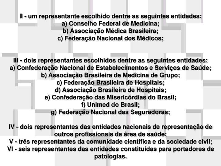 II - um representante escolhido dentre as seguintes entidades: