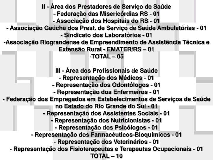 II - Área dos Prestadores de Serviço de Saúde