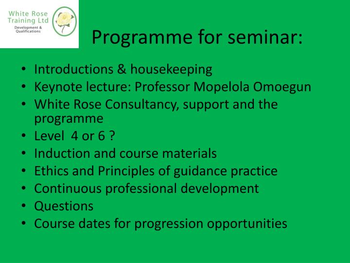 Programme for seminar: