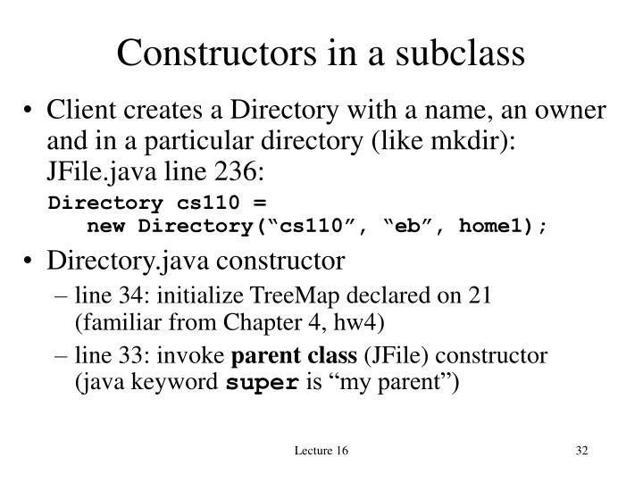 Constructors in a subclass