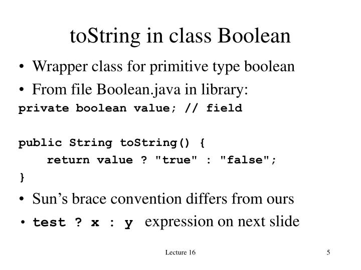toString in class Boolean