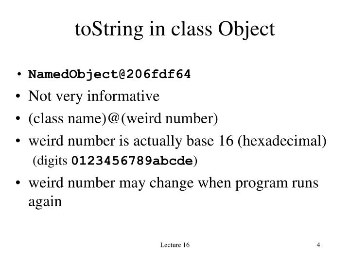 toString in class Object