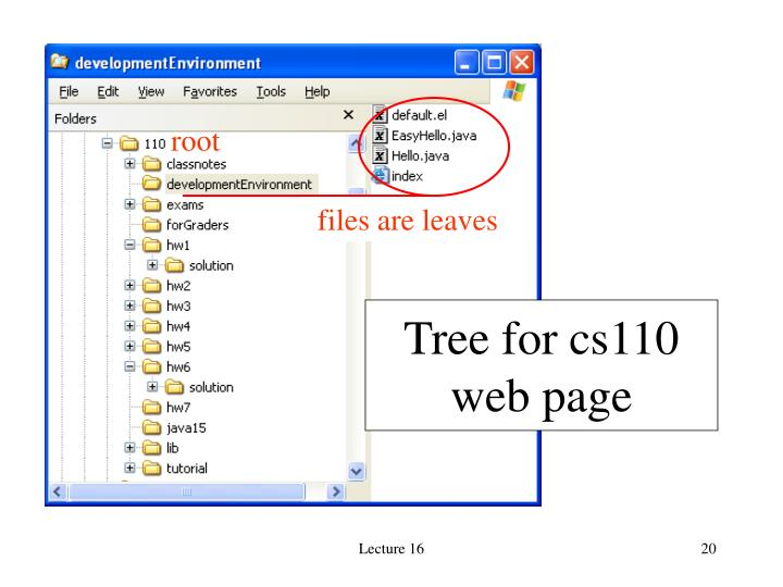 Tree for cs110 web page