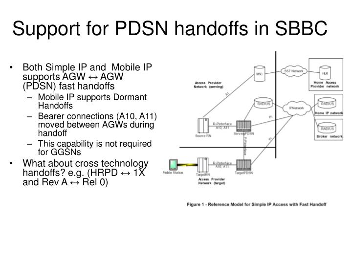 Support for pdsn handoffs in sbbc
