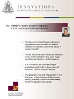 i n n o v a t i o n s in women s health research1