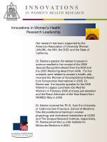 i n n o v a t i o n s in women s health research7