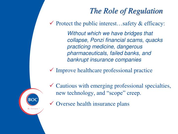 The Role of Regulation