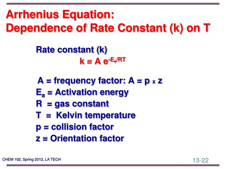 Arrhenius Equation: