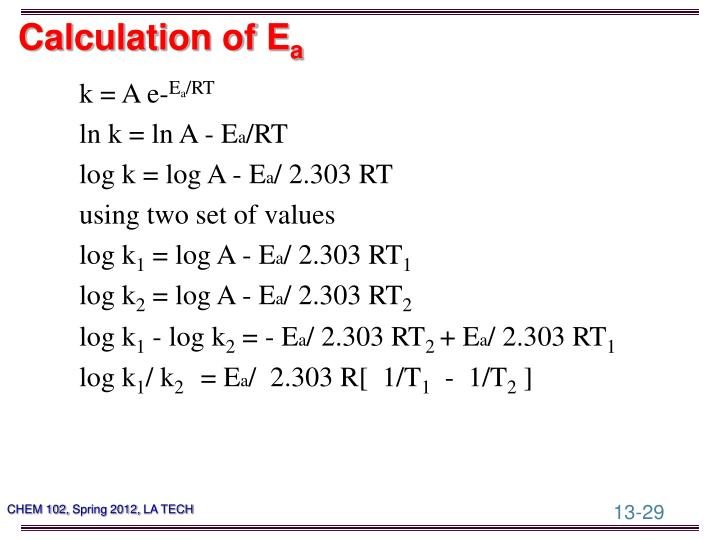 Calculation of E