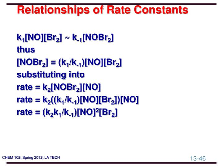 Relationships of Rate Constants