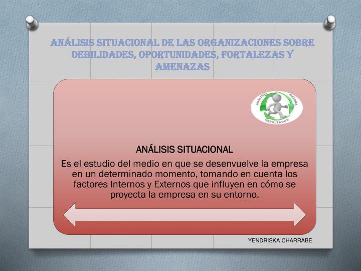 ANÁLISIS SITUACIONAL DE LAS ORGANIZACIONES SOBRE DEBILIDADES, OPORTUNIDADES, FORTALEZAS Y AMENAZAS