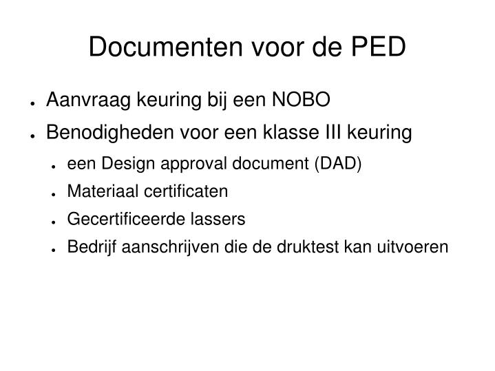 Documenten voor de PED