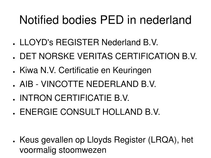 Notified bodies PED in nederland