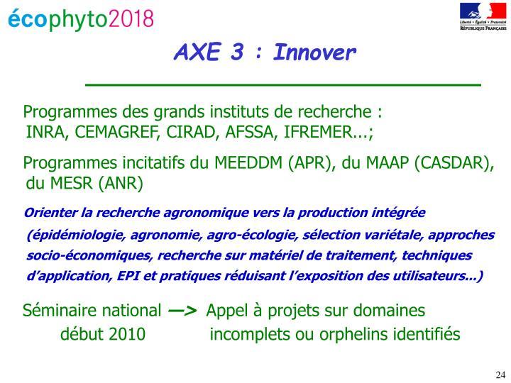 Programmes des grands instituts de recherche :                          INRA, CEMAGREF, CIRAD, AFSSA, IFREMER...;
