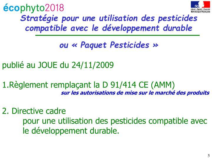 Stratégie pour une utilisation des pesticides compatible avec le développement durable