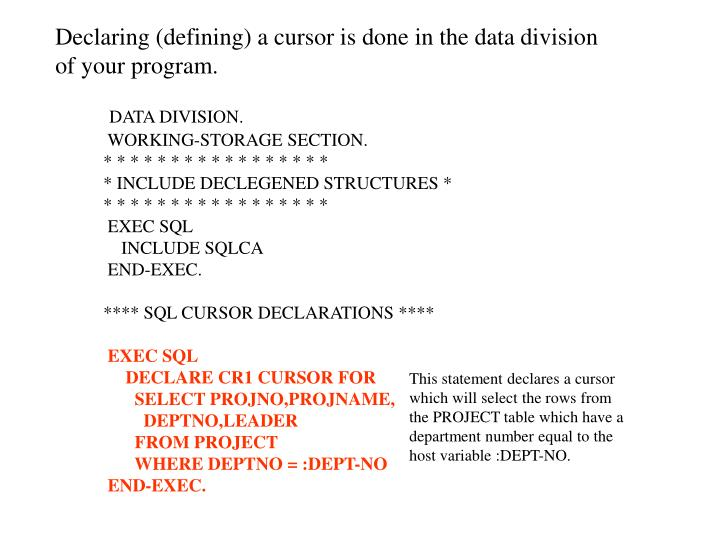 Declaring (defining) a cursor is done in the data division