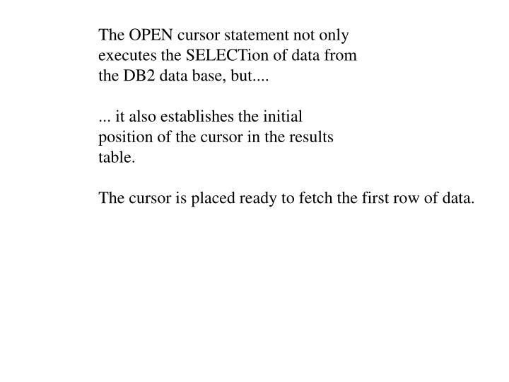 The OPEN cursor statement not only