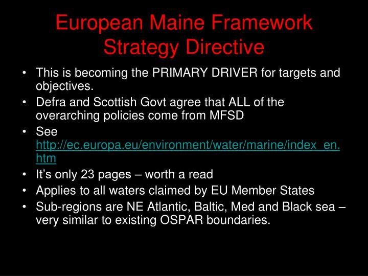 European Maine Framework Strategy Directive