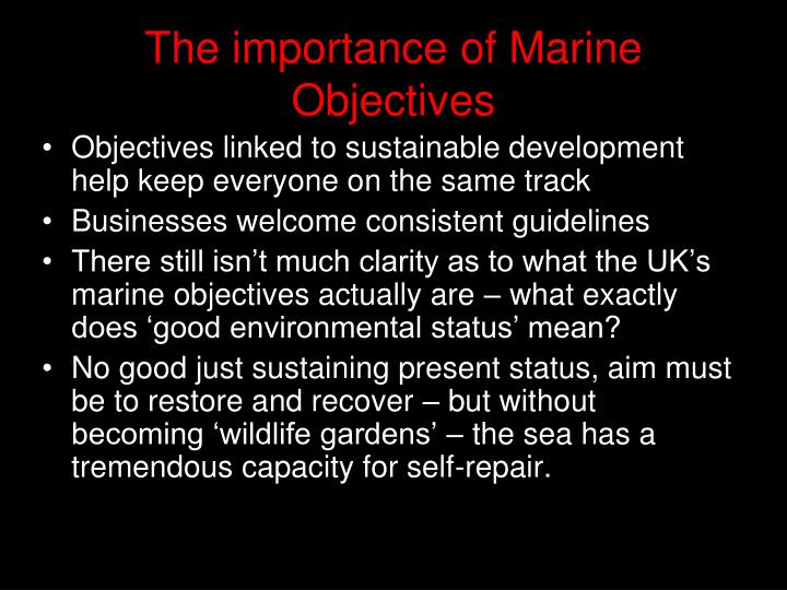 The importance of Marine Objectives