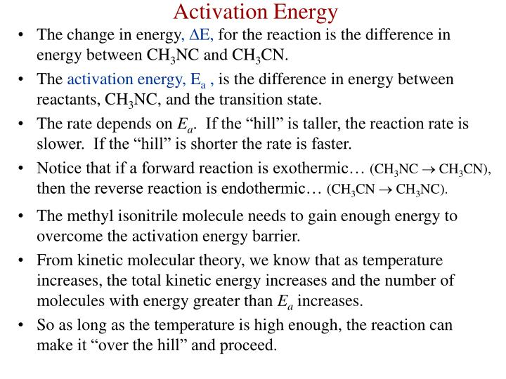 The change in energy