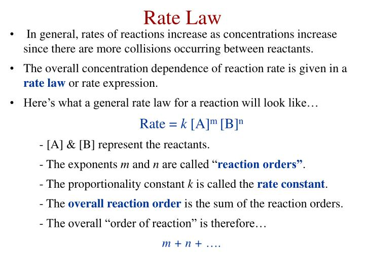 In general, rates of reactions increase as concentrations increase since there are more collisions occurring between reactants.