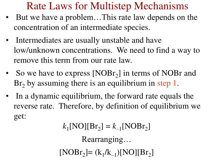But we have a problem…This rate law depends on the concentration of an intermediate species.